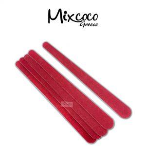 Λίμες κόκκινες ευθείες ξύλινες για φυσικό νύχι σετ 5τμχ