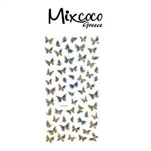 Διακοσμητικά Αυτοκόλλητα νυχιών Butterflies Gold&Blue 01