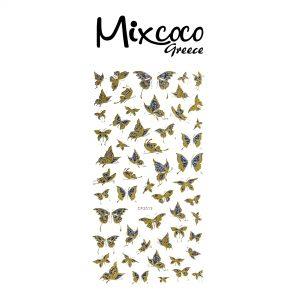 Διακοσμητικά Αυτοκόλλητα νυχιών Butterflies Gold&Blue 02