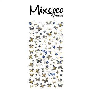 Διακοσμητικά Αυτοκόλλητα νυχιών Butterflies Gold&Blue 03
