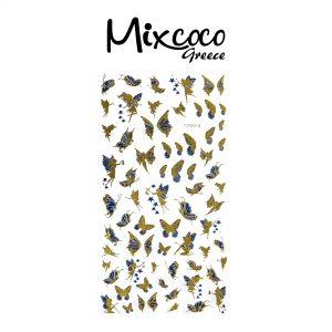 Διακοσμητικά Αυτοκόλλητα νυχιών Butterflies Gold&Blue 04