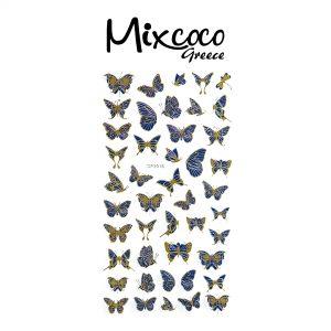 Διακοσμητικά Αυτοκόλλητα νυχιών Butterflies Gold&Blue 05