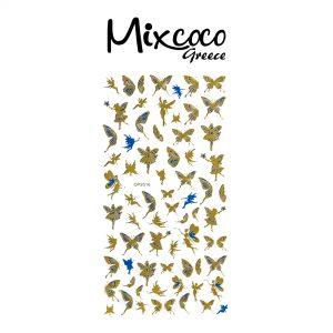 Διακοσμητικά Αυτοκόλλητα νυχιών Butterflies Gold&Blue 06